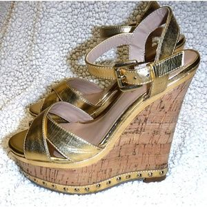 Bebe gold slingback cork wedge sandals